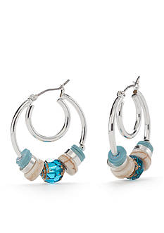 Napier Cotton Candy Beaded Hoop Earring