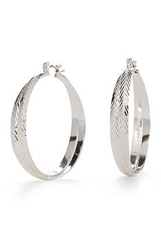 Napier Silver-Tone Etched Hoop Earrings