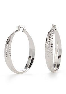 Napier Silver-Tone Etched Hoop Earrings