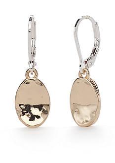 Napier Two-Tone Golden Girl Oval Drop Earrings