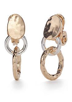 Napier Two-Tone Golden Girl Double Drop Golf Clip Earrings