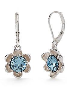 Napier Silver-Tone Full Bloom Blue Flower Drop Earrings
