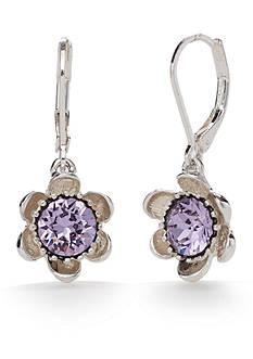 Napier Silver-Tone Full Bloom Purple Flower Drop Earrings