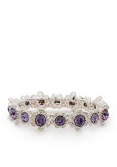 Napier Silver-Tone Full Bloom Purple Stretch Bracelet