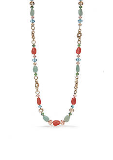 Napier Gold-Tone Pastel Valley Long Strand Necklace