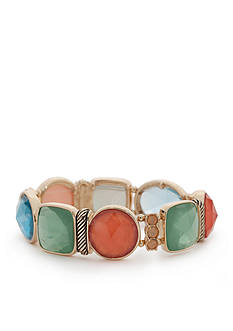 Napier Gold-Tone Pastel Valley Stretch Bracelet
