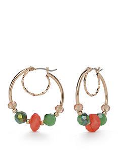 Napier Gold-Tone Pastel Valley Hoop Earrings