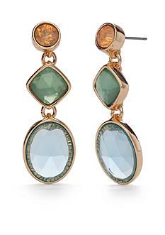 Napier Gold-Tone Pastel Valley Triple Drop Earrings