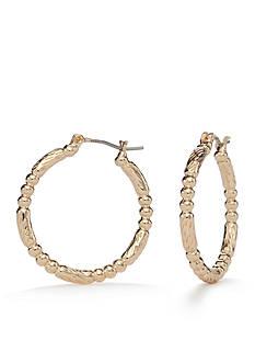 Napier Gold-Tone Fine Hour Hoop Earrings