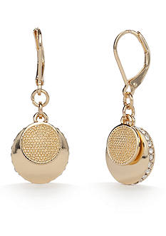 Napier Gold-Tone Fine Hour Drop Earrings