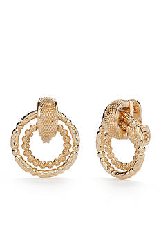 Napier Gold-Tone Fine Hour Doorknocker Clip Earrings