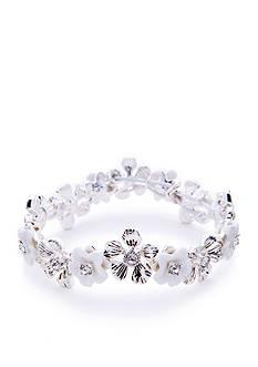 Napier Silver-Tone Floral Blossom Flower Bracelet