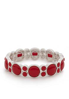 Napier Silver-Tone Brite Spot Red Stretch Bracelet