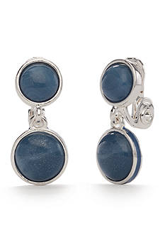 Napier Silver-Tone Brite Spot Denim Double Drop Clip Earrings