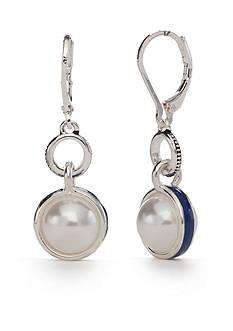Napier Silver-Tone Americana Classic Pearl Drop Earrings