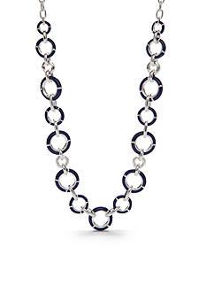 Napier Silver-Tone Americana Classic Blue Collar Necklace