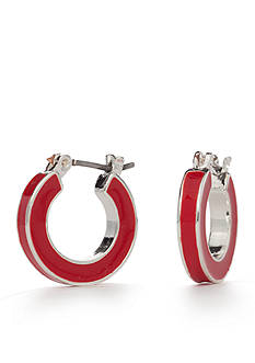 Napier Silver-Tone Americana Classic Small Red Hoop Earrings