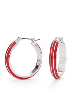 Napier Silver-Tone Americana Classic Hoop Earrings