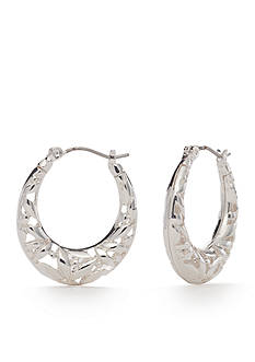 Napier Silver-Tone Point Of View Hoop Earrings