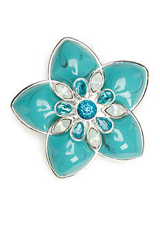 Napier Silver-Tone Teal Flower Boxed Pin