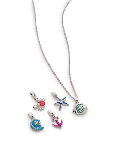 Napier Silver-Tone Ocean Life Interchangeable Pendant Necklace Boxed Set