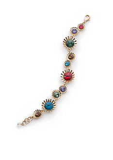 Napier Gold-Tone Colorful Crystal Chain Boxed Bracelet