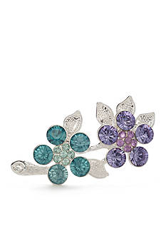 Napier Silver-Tone Blue & Purple Flower Boxed Pin