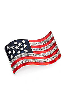 Napier Silver-Tone Crystal American Flag Boxed Pin