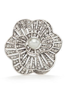 Napier Silver-Tone Pearl Flower Boxed Pin
