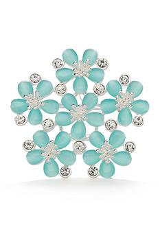 Napier Silver-Tone Aqua Flower Boxed Pin