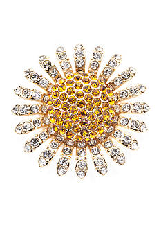 Napier Gold-Tone Crystal Sunflower Boxed Pin