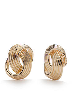 Napier Gold-Tone Loop Button Clip Earrings