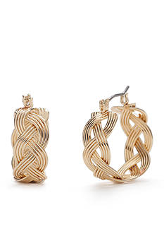 Napier Gold-Tone Small Braided Hoop Earrings