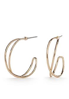 Napier Gold-Tone C Hoop Earrings