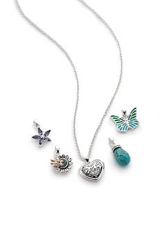 Napier Silver-Tone Mom Charm Interchangeable Pendant Boxed Necklace