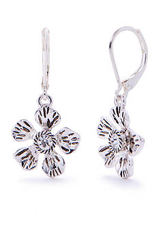 Napier Silver-Tone Floral Blossom Flower Earrings