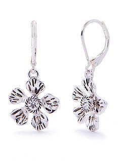 Napier Silver-Tone Floral Blossom Flower Earrings