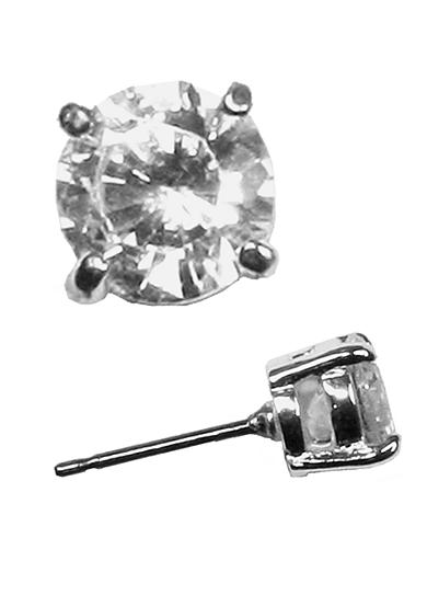 Napier Silver-Tone Crystal CZ Stud Earring
