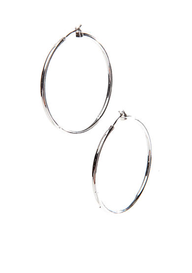 Napier Large Silver-Tone Click It Hoop