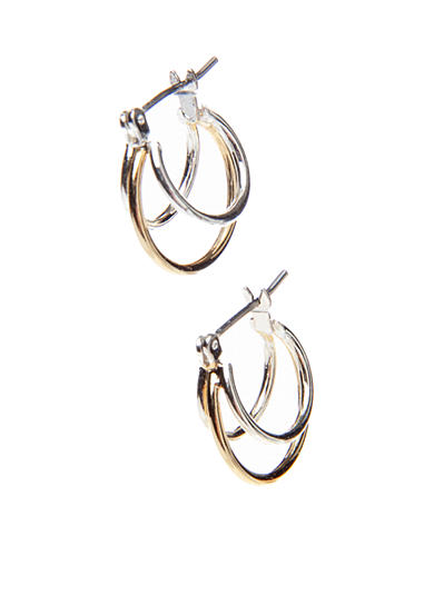 Napier Silver-Tone And Gold-Toned Triple Hoop Pierced Earring