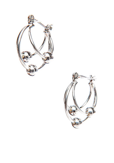 Napier Silver-Tone Double Hoop With Multi Beads