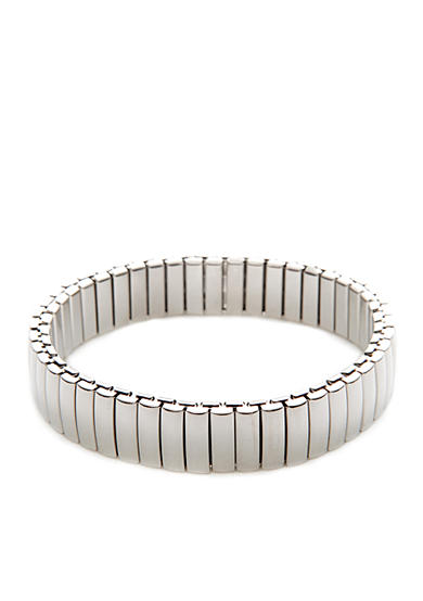 Napier Polished Silver-Tone Open Link Stretch Bracelet