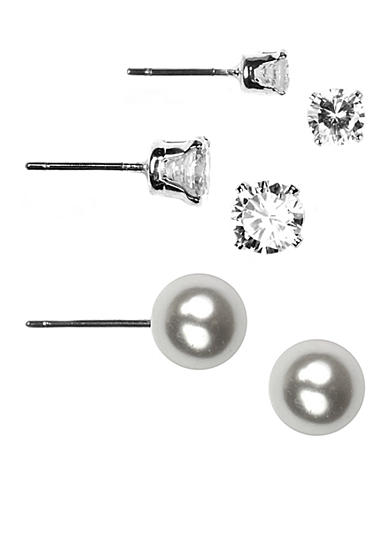 Napier Three Crystal and Pearl Stud Earring Set