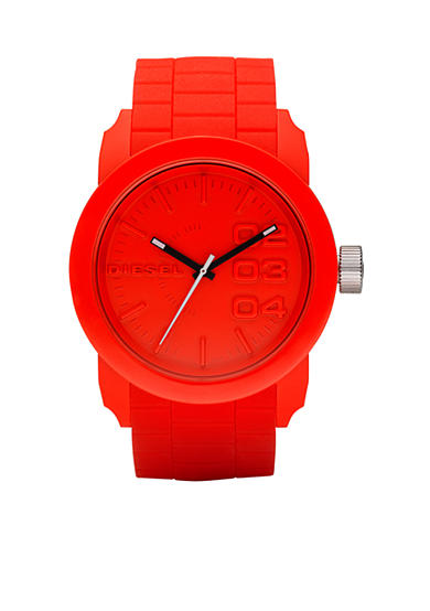Diesel Double Down Red Silicone Three Hand Watch