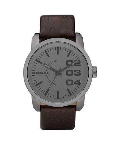 Diesel Men's Large Round Grey Dial with Dark Brown Leather Strap Watch