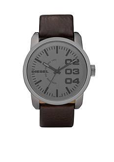 Diesel Men's Large Round Grey Dial with Dark Brown Leather Strap Watch