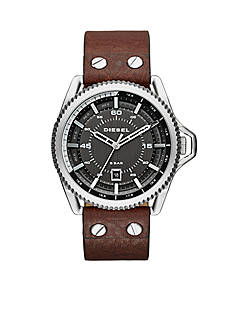 Diesel Men's Rollcage Silver And Brown Three Hand Watch