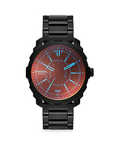 Diesel Men's Machinus Black Plated Three Hand Watch with Iridescent Crystal Watch