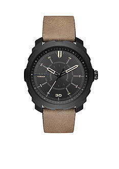 Diesel Men's Machinus NSBB Black IP and Light Brown Leather Three-Hand Watch
