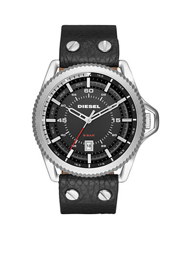Diesel Men's Rollcage Black Leather Three-Hand Watch